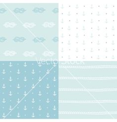 Retro anchor nautical doodle pattern set vector  by kondratya on VectorStock®