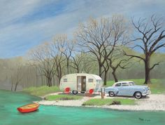 Vintage Travel Trailer Boles Aero Spartanette Camper 1954 Chevy RV ART – Famous Last Words Vintage Rv, Vintage Caravans, Vintage Travel Trailers, Vintage Style, Travel Trailer Camping, Camping Glamping, Camping Hacks, Camping Ideas, Rv Travel