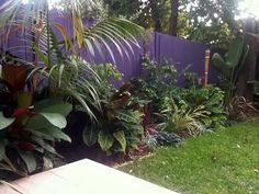 Balinese Tropical Garden Design – Balinese Style Garden, Northern Beaches Sydney. Materials – Bright Colours, Foliage Colour, Kentia Palm, Recycled Railway Sleepers, Sawn Sandstone Paving, Flax, Liriopes, Strellitzia. Entertaining Area, Northern Beaches Home – Tropical Garden Design Sydney