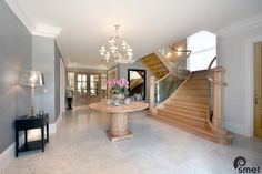 The grand splay at the start of this French Oak staircase creates a welcoming appearance. The seamless glass balustrade is toughened and laminated. New Homes For Sale, Property For Sale, Laminated Glass, Glass Balustrade, French Oak, Ascot, Stairs, House Design, Interior Design