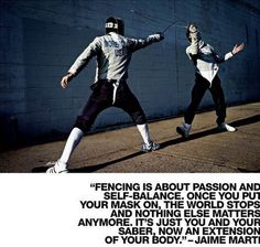 As a saber fencer, it makes all the sense. Loved the quote.