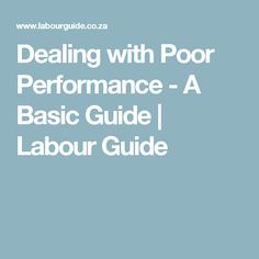 Dealing with Poor Performance - A Basic Guide By Des Squire, Managing Member at Amsi and Associates The first step is to hold a meeting (an informal Hold A Meeting, Labor Law, First Step, Knowing You