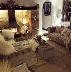 How to Plan a Cosy Living Room? - Latest Articles How to Plan a Cosy Living Room? Cottage Fireplace, Inglenook Fireplace, Living Room With Fireplace, Cozy Fireplace, Cottage Living Rooms, Cottage Interiors, Home Living Room, Apartment Living, Living Area