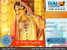 Embellish The Beauty Of A Bride With Khada Dhupatta  Get An Awesome Collection On Khada Dupattas With best Discount. Call @ 040 - 24 40 40 40 And Get Your Discount Coupon.