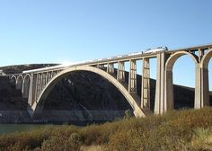 Martín Gil Viaduct, Zamora, Zamora, Castile-Leon, Spain, Europe  Completed in: 1942 Structural Type: Arch bridge Materials: Reinforced concrete  Rise: 64.75 m; Total length: 408 m; Span lengths: 5 x 22.00 m - 209.84 m - 3 x 22.00 m; Arch span 209.84  Engineer: Cesar Villalba Granda Engineer: Antonio Salazar Contractor: OMES y R. Barredo (Located on the Zamora-La Coruña line, at 20 km from Zamora, crossing the Esla River. World record of span, until 1953, in its typology.)