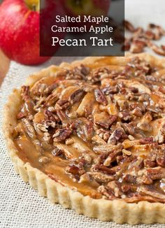 This delicious and elegant Apple Pecan Tart recipe is covered in salted Maple Caramel Sauce. It's the perfect fall dessert with a scoop of ice cream.
