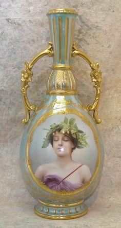 gallery portrait vases | 633: Royal Vienna Porcelain Portrait Vase. : Lot 633