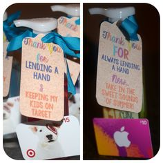 Parent Volunteer gift ideas and tags. Freebie