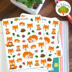 Cute Woodlands Fox Floral Forest Sticker Set by FoxAndCactus
