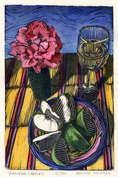 Original Framed Linocut Still Life with Apples Wine Roses DelPesco