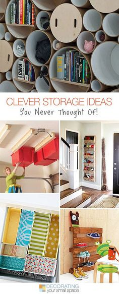Clever Storage Ideas You Never Thought Of! Ideas and Tutorials! - Home Projects We Love Creative Storage, Diy Storage, Storage Ideas, Storage Stairs, Storage Units, Creative Ideas, Home Organisation, Storage Organization, Bathroom Organization