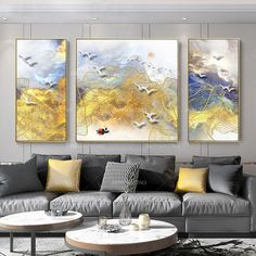 Gold line mountain print 3 pieces wall art Abstract Painting print On Canvas original art ready to hang framed painting set of 3 wall art Colorful Wall Art, Modern Wall Art, Colorful Decor, Hallway Wall Decor, Home Decor Wall Art, Abstract Wall Art, Canvas Wall Art, Abstract Print, Painting Frames
