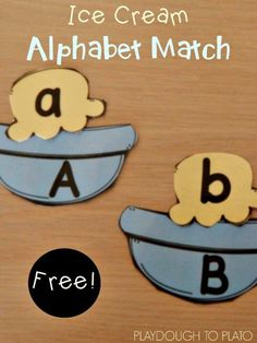 Free ABC game: Ice Cream Alphabet Match Up. Pair the upper and lowercase letters. Such a fun kids' activity for summer! Alphabet Games, Teaching The Alphabet, Learning Letters, Fun Learning, Learning Activities, Activities For Kids, Learning Spanish, Teaching Resources, Letter Games