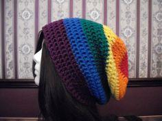 Teen Adult Rainbow EXTRA Slouch Hat, Slouchy Beanie, Mens Hat, Womens Hat, Ladies Hat, Slacker Slouch, Summer Hat, Boho, Rainbow Beanie