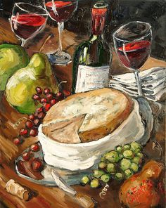 Wine And Cheese Painting