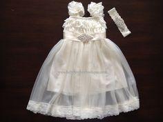 Ivory French Tunic Baptism Dress with Rhinestones