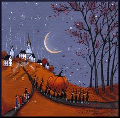 Helgas Contender For The Biggest  Pumpkin Contest   PRINT Halloween Autumn Witch Print by Deborah Gregg
