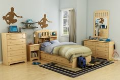 Brown Skateboard Wall Stickers And Stylish Drawer With Brown Knobs Plus Purple Pillows In Simple Kids Room Ideas