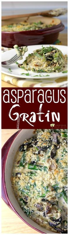 Asparagus Gratin. A perfect side dish that can be assembled in advance for your special dinner or holiday celebration. from EricasRecipes.com http://ericasrecipes.com/2015/03/asparagus-gratin/