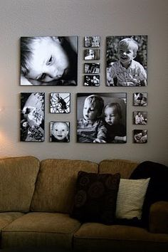 DIY photo canvas/ Or have pictures devloped to these sizes and put in clear plastic frames. Doing this idea for the family room wall. Great Idea for grandchildrens pictures.
