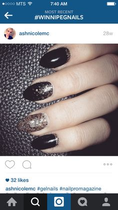 Black and gold nails. Manicure