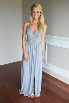 A stunning maxi to rock this summer! Side Slit.  Material: 94% Rayon 6% Spandex  Lots of stretch.  Model is 5'5'' a...