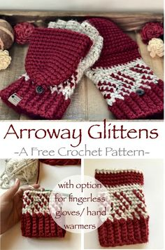 Arroway Glittens- Free Crochet Pattern - Monika Schneider - Arroway Glittens- Free Crochet Pattern Arroway Glittens- A Free Crochet Pattern by A Purpose and A Stitch. With instructions for converting pattern to hand warmers/ fingerless mittens. Crochet Hand Warmers, Crochet Mitts, Crochet Mittens Pattern, Tunisian Crochet, Crochet Stitches, Free Crochet, Knitting Patterns, Crochet Patterns, Crochet Scarfs