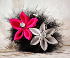 Hot Stuff candy heart lotus & mum kanzashi collage with black boa feathers hair accessory by #VioletsBuds #MadMadMakers