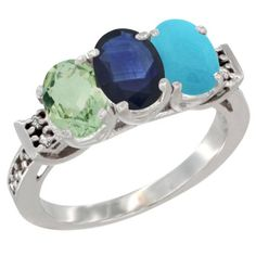 14K White Gold Natural Green Amethyst, Blue Sapphire and Turquoise Ring 3-Stone 7x5 mm Oval Diamond Accent, sizes 5 - 10 * Don't get left behind, see this great  product : Jewelry Ring Bands