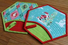 Quilted Holiday Pot Holder from Better off Thread