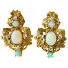 For Sale on - Baroque-Inspired Gold, Opal and Diamond Earrings crafted in 14 karat Yellow Gold, Opals and Diamonds Baroque-Inspired Feather/Floral Design Gold studs Sapphire And Diamond Earrings, Diamond Earing, Coral Earrings, Pearl Stud Earrings, Diamond Studs, Cluster Earrings, White Gold Studs, Earring Crafts, Gold Set