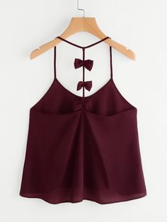 Shop Bow Embellished Y-Back Cami Top at ROMWE, discover more fashion styles online. Cute Summer Outfits, Cute Outfits, Maxi Skirt Crop Top, Choli Dress, Cheap Boutique Clothing, Leotard Fashion, Diy Vetement, Classic Outfits, Romwe