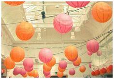 "20pcs 12"" inch Chinese Paper Lantern Wedding Decoration Pink & Orange Color - from eBay...$35.99"