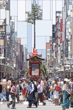Gion Matsuri by kareobana  ピクセルの祇園