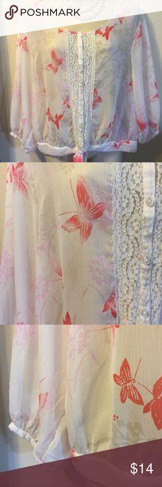 Butterfly tunic blouse festival Bohemian. Beautiful sheer blouse size medium. Express Tops Blouses