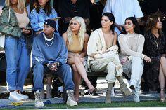 Tyga, Kylie Jenner, Kendall Jenner and Kim Kardashian at Yeezy Season 4 - The Best Front Row Fashions at New York Fashion Week Spring 2017 - Photos Kanye West, Kim Kardashian, Fashion Week, New York Fashion, Fashion Show, Yeezy Season 4, Kanye Yeezy, Yeezy Fashion, Kendall And Kylie Jenner