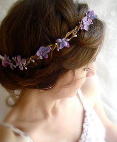 lilac flower hair wreath, purple bridal hair accessory, wedding accessories - LILAC SPRIG - flower girl circlet, headband. $62.00, via Etsy.