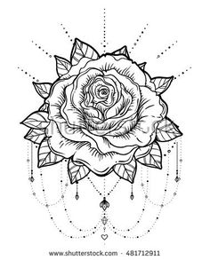 Blackwork tattoo flash. Rose flower. Highly detailed vector illustration isolated on white.
