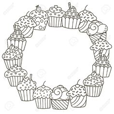 Black And White Frame With Cute Cupcakes For Coloring Book Stock Vector - Illustration of copyspace, children: 74928396 Colouring Pages, Coloring Sheets, Coloring Books, Cricut Monogram, Monogram Fonts, Wreath Drawing, Black And White Frames, Cute Cupcakes, Cricut Creations