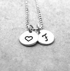 Initial Necklace with Heart, Sterling Silver, Letter F Necklace, Hand Stamped Jewelry, Heart Necklac Horseshoe Jewelry, Initial Jewelry, Initial Pendant, Initial Necklace, Initial Charm, F Alphabet, Alphabet Images, Alphabet Design, Silver For Jewelry Making