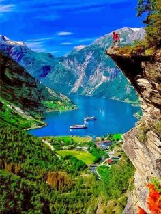 Geiranger Fjord, Norway .:. I've been there! Here's a photo from a higher vantage point: http://gallery.beautysuspended.com/p463270986/e4e05aed - you can see more of the valley. I need to visit Norway again. Beautiful country, beautiful people.