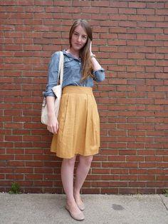 Chambray shirt + yellow midi skirt.