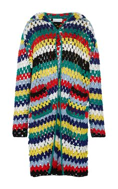 Hooded Striped Crochet Cardigan by MIRA MIKATI for Preorder on Moda Operandi