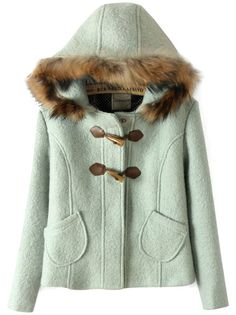 Light Green Fur Hooded Horn Button Pockets Coat