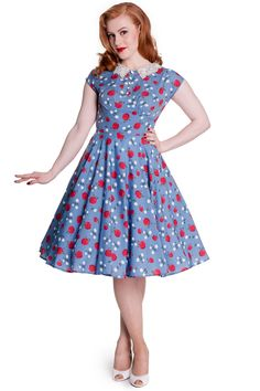 A perfect summer dress from Hell Bunny. Francine in blue is a 1950's style dress with a print of apples and daisies. Contrast crochet collar. RRP £34.99 £24.99 www.jgthi.com