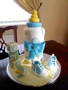 Baby boy cake | Baby blocks, bottle, pacifier & shoes