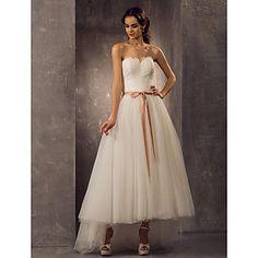 Vestido+de+Noiva+-+Marfim+Trapézio/Princesa+Coração+Assimétrico/Mullet+Tule+Tamanhos+Grandes+–+USD+$+129.99
