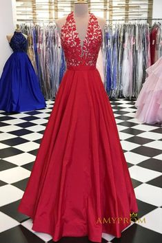 Red Prom Dress A-line Halter Applique Long Prom Dresses Beautiful Long Evening Dress AMY1004 #eveningdresses #formaleveningdresses #promdresses #graduationparty #promdresseslong #eveninggowns #promdresseslace #prom #promgown #promdress2020 #prom2k20 #quinceanera #pageantdress#fashion #eveningdress #amyprom #promdressesred #vneckpromdress Senior Prom Dresses, V Neck Prom Dresses, Modest Dresses, Sexy Dresses, Red Satin Prom Dress, Lace Dress, Dress Red, Tulle Lace, Evening Dress Long
