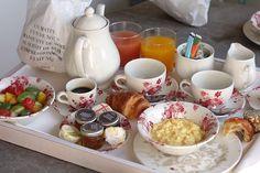 Room service breakfast in bed by David Lebovitz, via Flickr, @ Hôtel Les Étangs de Corot