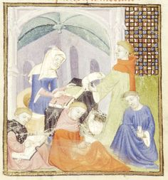 Detail of a miniature of a scriptorium under the supervision of Io, from Christine de Pizan's Book of the Queen, France (Paris), c. 1410 – c. 1414, Harley MS 4431, f. 109r - See more at: http://britishlibrary.typepad.co.uk/digitisedmanuscripts/2014/06/the-burden-of-writing-scribes-in-medieval-manuscripts.html#sthash.TIiyKZXv.dpuf